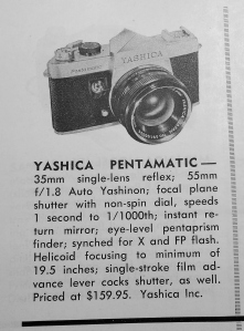 Yashica provided this first ever look at their new Pentamatic SLR at the March 1960 MPDFA trade show in St. Louis.