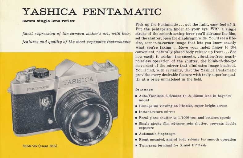 Page 1 provides a wealth of info for Yashica's first 35mm SLR.