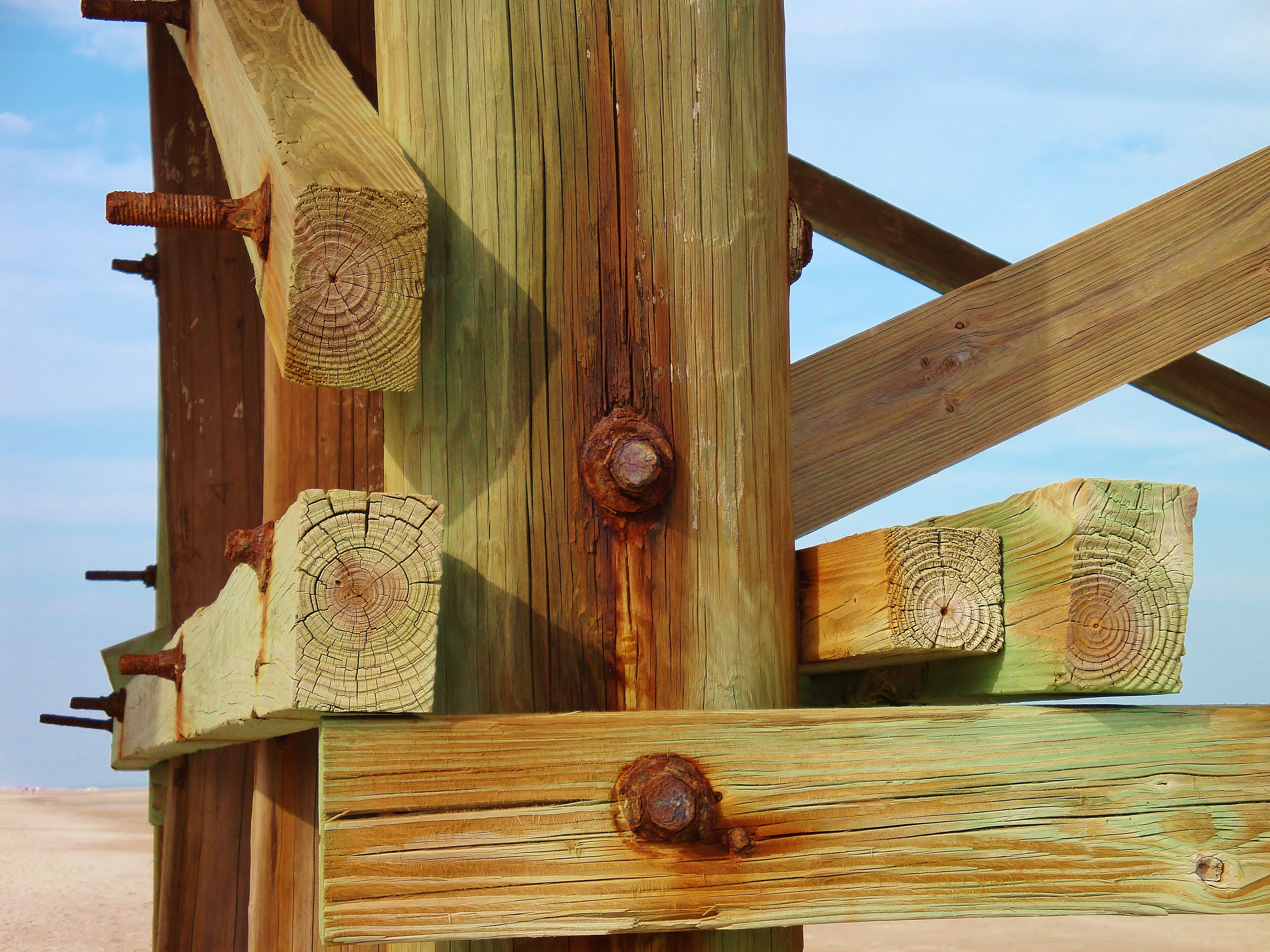 rust and wood at beach